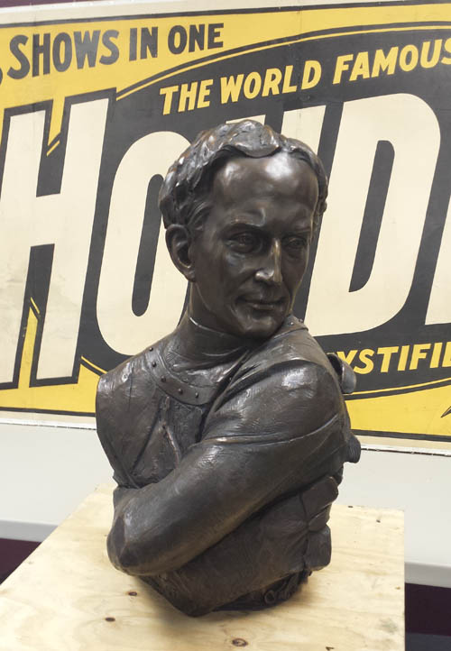 Craig Campbell's bust of Harry Houdini in the throws of his iconic straightjacket escape unveiled at Houdini Plaza in Appleton, Wisconsin